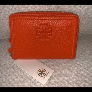 Authentic Tory Burch Leather Orange Coin Wallet